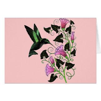 Colibrí y flores bonitos tarjeta