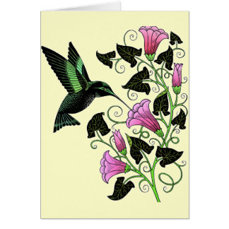 Colibrí y flores bonitos felicitaciones