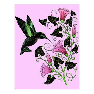 Colibrí y flores bonitos postal