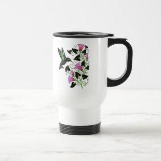 Colibrí y flores bonitos taza de viaje de acero inoxidable