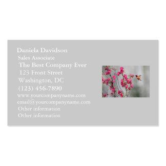 Colibrí y flores del vuelo tarjeta personal