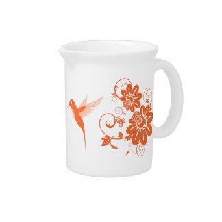 Colibri y flores jarras de beber