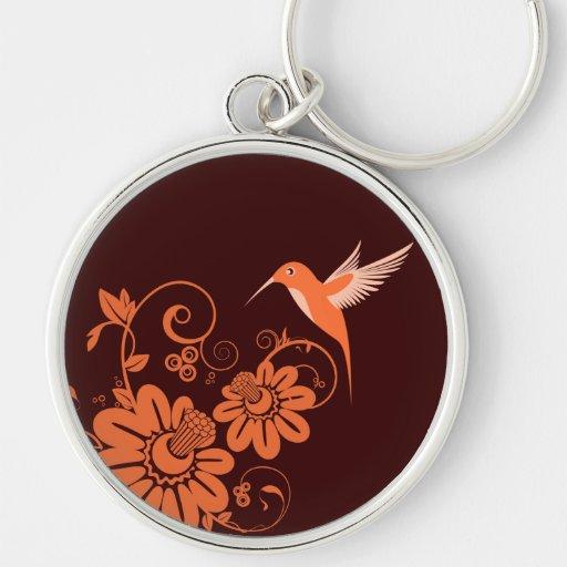 Colibri y flores llavero personalizado