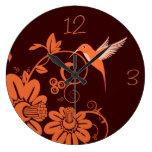 Colibri y flores relojes de pared