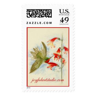 Colibrí y flores rojos sello