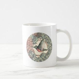 Colibrí y flores tazas de café