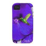 Colibrí y lavanda Lau personalizado hibisco Vibe iPhone 4 Carcasas