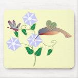 Colibrí y libélula Mousepad Tapetes De Ratones
