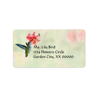 Colibrí y lirio rosado en estampado de flores etiquetas de dirección