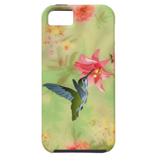 Colibrí y lirio rosado en estampado de flores iPhone 5 Case-Mate protectores
