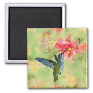 Colibrí y lirio rosado en estampado de flores imán cuadrado