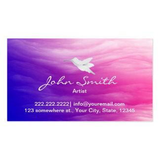 Colibrí y tarjeta de visita colorida del artista d