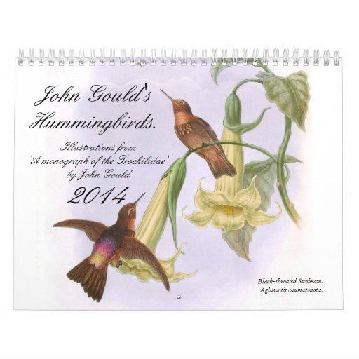Colibríes 2014 de Juan Gould Calendario De Pared