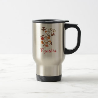 Colibríes con arte floreciente del vintage de la taza de viaje