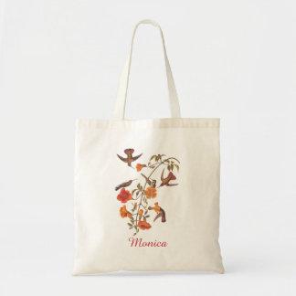 Colibríes con la vid de trompeta floreciente bolsa tela barata