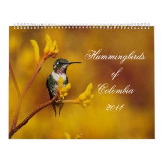 Colibríes de Colombia Calendario De Pared