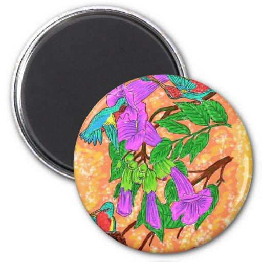 Colibríes de la acuarela imán redondo 5 cm