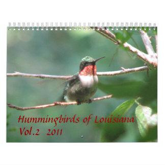 Colibríes de Luisiana vol. 2 Calendario De Pared