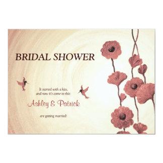 Colibríes del amor y flores rojas pintadas invitación 12,7 x 17,8 cm