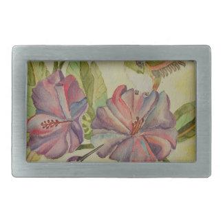 Colibríes e hibisco de la pintura de la acuarela hebilla cinturón rectangular