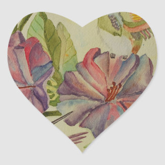 Colibríes e hibisco de la pintura de la acuarela pegatina en forma de corazón