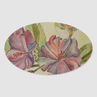 Colibríes e hibisco de la pintura de la acuarela pegatina ovalada