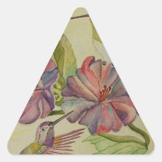 Colibríes e hibisco de la pintura de la acuarela pegatina triangular