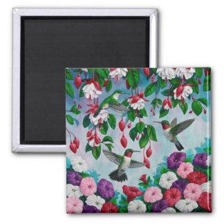 Colibríes en jardín de flores fucsia imán cuadrado