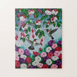 Colibríes en jardín de flores fucsia puzzle