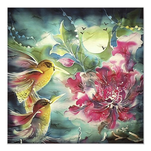 Colibríes hermosos en el arte de la seda de la invitación personalizada
