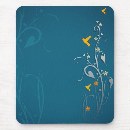 colibríes preciosos y diseño floral del remolino tapete de raton