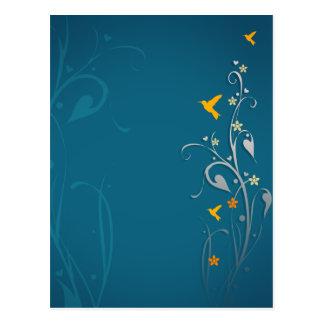 colibríes preciosos y diseño floral del remolino postal