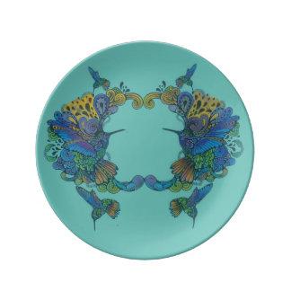 Colibríes que jerarquizan la placa de Porcelin Platos De Cerámica