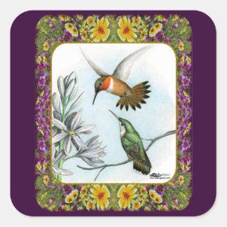 Colibríes y flores #2 pegatina cuadrada