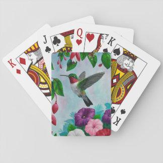 Colibríes y flores baraja de póquer