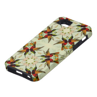 Colibríes y flores del ejemplo del vintage iPhone 5 protectores