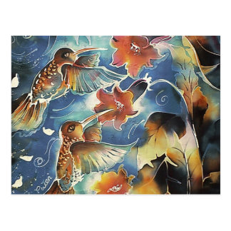 Colibríes y flores luminosos tarjeta postal