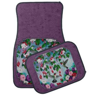 Colibríes y flores púrpuras alfombrilla de coche