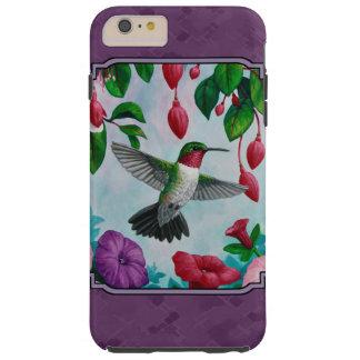 Colibríes y flores púrpuras funda para iPhone 6 plus tough