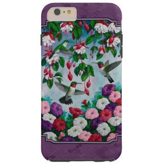 Colibríes y flores púrpuras funda resistente iPhone 6 plus