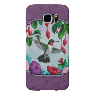 Colibríes y flores púrpuras funda samsung galaxy s6
