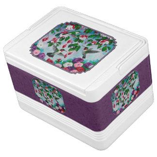 Colibríes y flores púrpuras hielera igloo