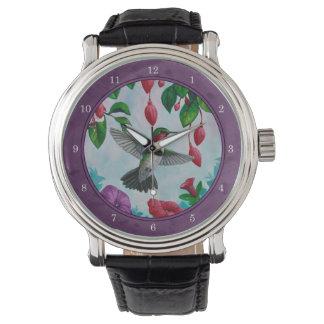 Colibríes y flores púrpuras relojes de pulsera