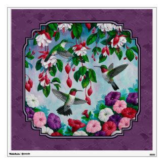 Colibríes y flores púrpuras vinilo