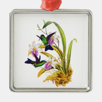 Colibríes y orquídeas púrpuras adorno para reyes