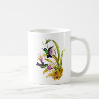 Colibríes y orquídeas púrpuras taza básica blanca