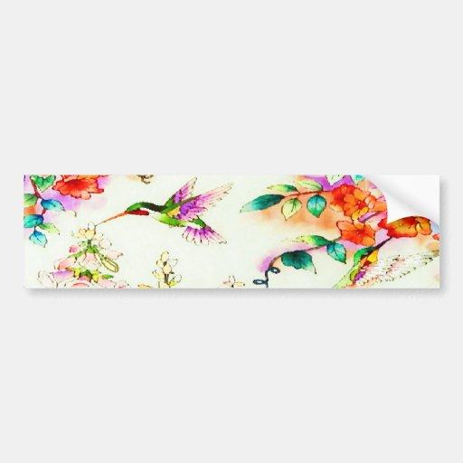 Colibríes y paisaje rosado de las flores pegatina de parachoque