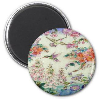 Colibríes y vitral wow de las flores imán redondo 5 cm