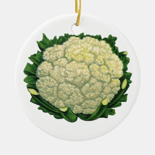 Coliflor de los Veggies de las verduras de la Adorno Navideño Redondo De Cerámica