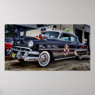 Colina 1954 del pino del coche policía de Chevy Póster